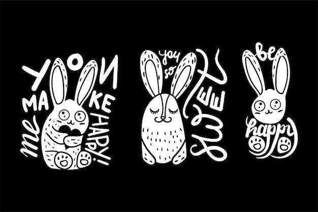 Affiches vous me rendez heureux ensemble dessiné à la main citation sur fond de tableau. collection phrases heureux et doux avec mignon souriant lapin animal noir et blanc modèle vector illustrations plates
