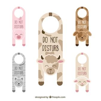 Affichettes de porte mignons avec les animaux