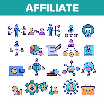 Affiliate elements icons set
