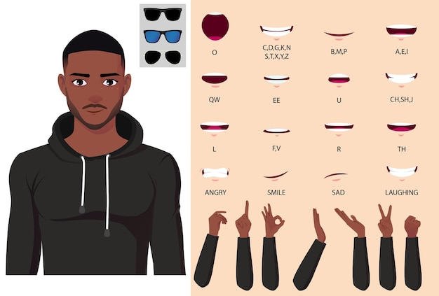 African american man in hoodie character face animation, lip-sync et hand gestures pack vector