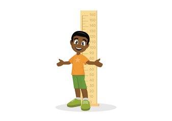 African Boy mesure la hauteur.