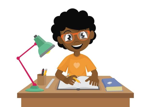African girl fait ses devoirs.
