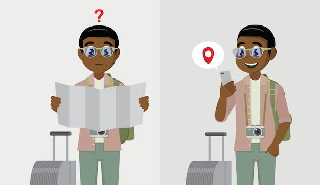 African male tourist avec backpack holding road map et african male holding mobile smart phone avec mobile gps point de recherche sur le plan de la ville