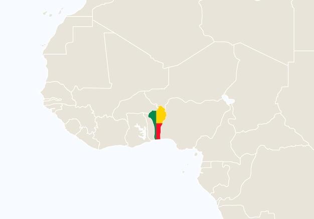 Afrique avec carte du bénin en surbrillance. illustration vectorielle.