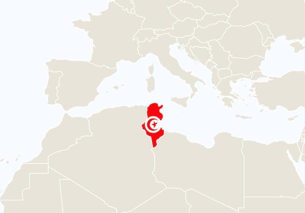 Afrique avec la carte de la tunisie en surbrillance. illustration vectorielle.