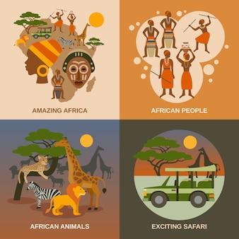 Afrique concept icons set