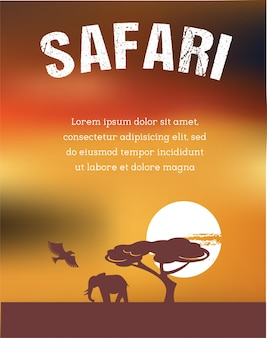 Afrique, conception d'affiche safari
