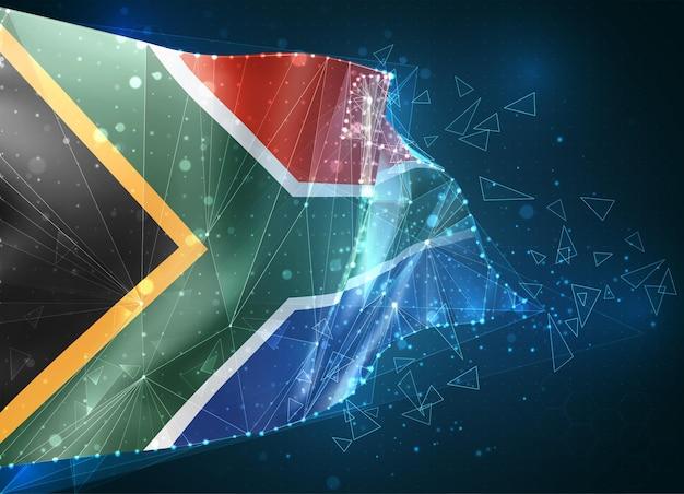 Afrique du sud, drapeau, objet 3d abstrait virtuel de polygones triangulaires sur fond bleu