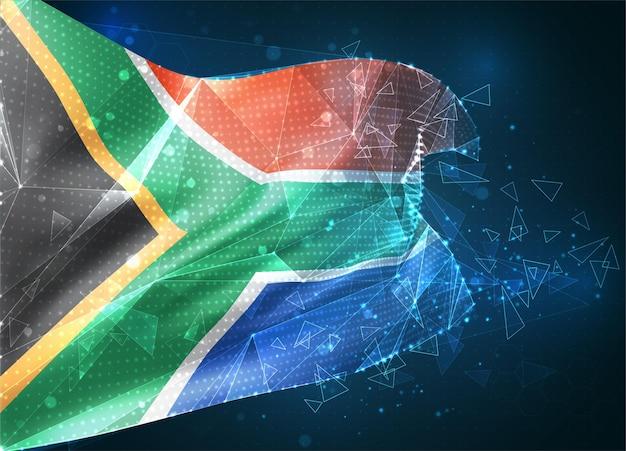 Afrique du sud, drapeau vectoriel, objet 3d abstrait virtuel à partir de polygones triangulaires sur fond bleu