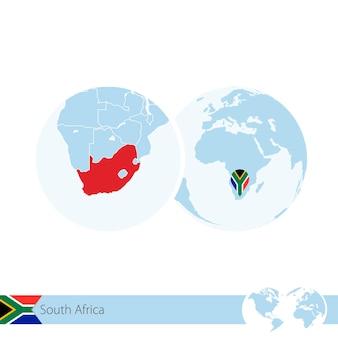 L'afrique du sud sur le globe terrestre avec le drapeau et la carte régionale de l'afrique du sud. illustration vectorielle.