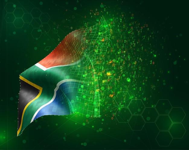 Afrique du sud, vecteur drapeau 3d sur fond vert avec des polygones et des numéros de données