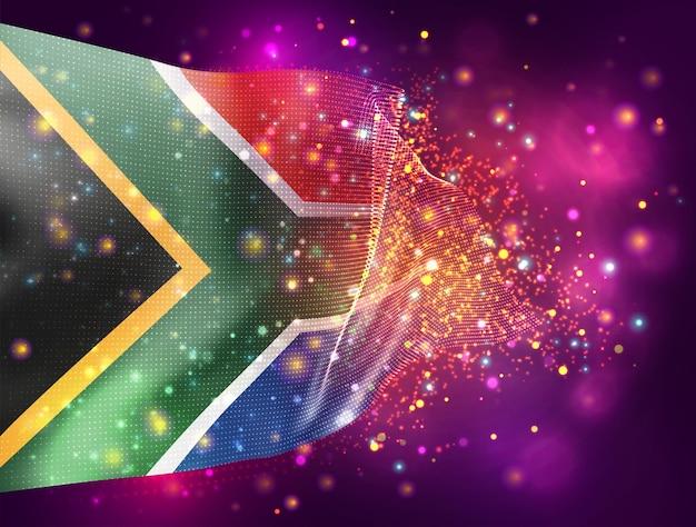 Afrique du sud, vecteur drapeau 3d sur fond violet rose avec éclairage et fusées éclairantes