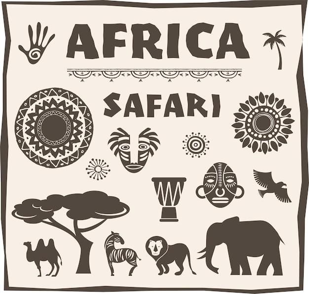 Afrique, Ensemble Safari Vecteur Premium