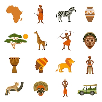 Afrique icons set