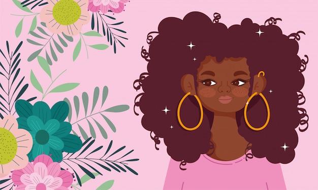 Afro-américaine femme dessin animé fleurs feuillage nature portrait illustration vectorielle