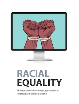 Afro-américains poings noirs attachés avec une corde sur l'écran du moniteur arrêter le racisme l'égalité raciale les vies noires comptent espace copie verticale