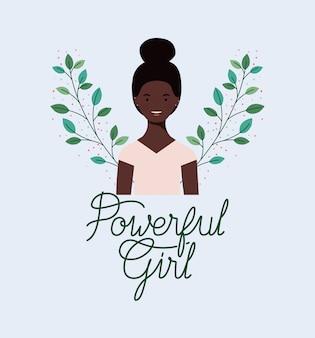 Afro belle fille avec cadre de feuilles de guirlande