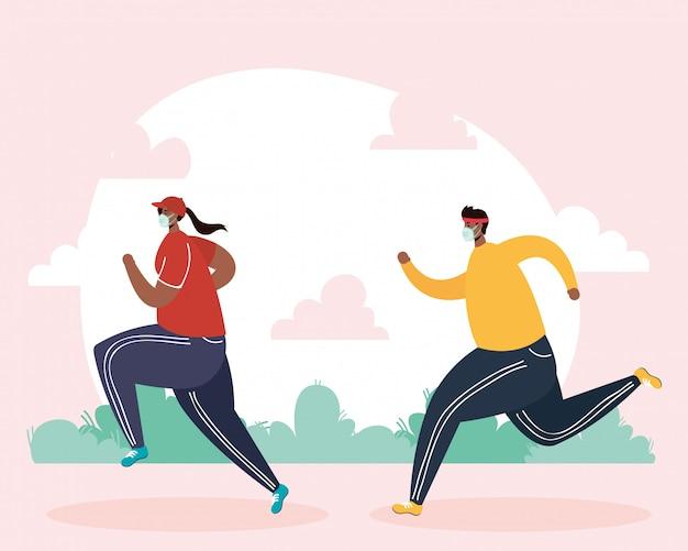 Afro couple portant un masque médical, faire du sport dans le parc