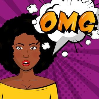 Afro, femme américaine, omg, bulle, pop art, bande dessinée