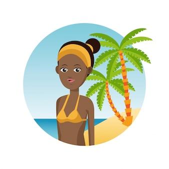 Afro femme voyage touristique vacances palm plage de sable