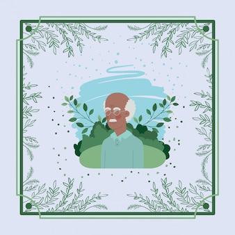 Afro old man carte avec cadre à base de plantes