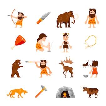 Age de pierre icônes ensemble de l'homme des cavernes animaux feu de joie armes viande et charme isolé illustration vectorielle