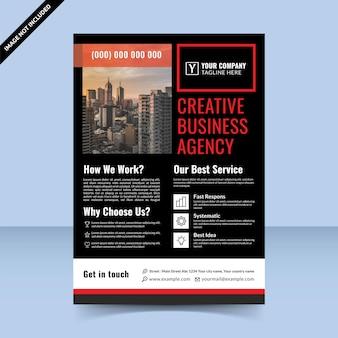 Agence commerciale créative de conception de modèle de flyer élégant noir rouge