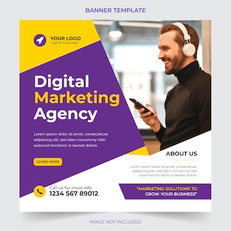 Agence commerciale numérique professionnelle marketing publication de médias sociaux et conception de modèle de bannière