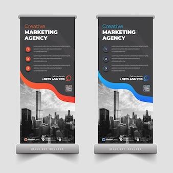 Agence commerciale retrousser la bannière ou tirer la conception de la bannière pour la publicité