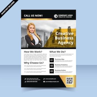 Agence de création de flyer or premium. conception de modèle de flyer