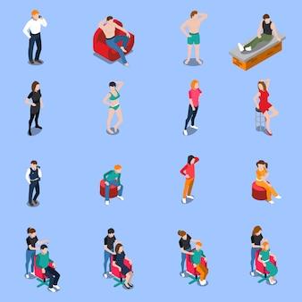 Agence de mannequins ensemble de personnes isométriques posant pour caméra sur bleu