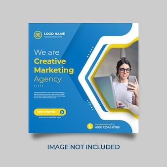 Agence de marketing créatif et modèle d'entreprise publication sur les médias sociaux bannière web