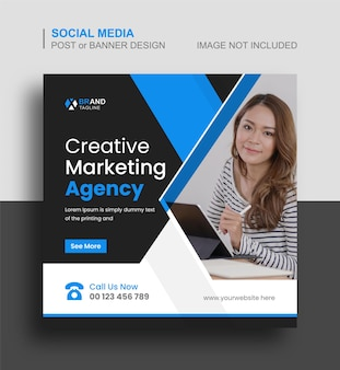 Agence de marketing créatif publication instagram sur les médias sociaux et bannière web