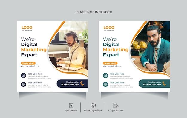 Agence de marketing numérique créatif modèle de conception de publication de médias sociaux flyer carré ou bannière web