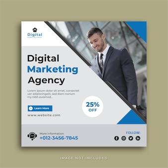 Agence de marketing numérique et élégant dépliant d'entreprise, post instagram de médias sociaux carrés ou modèle de bannière web