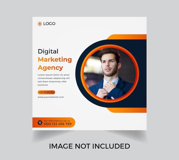 Agence de marketing numérique entreprise moderne médias sociaux conception de modèle de publication vecteur premium