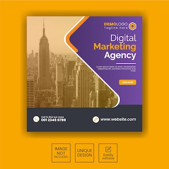 Agence de marketing numérique instagram post ou modèle de bannière web carré