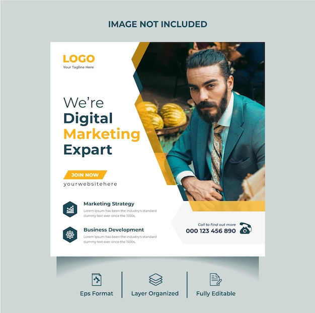 Agence de marketing numérique instagram post ou modèle de flyer carré de médias sociaux vecteur premium