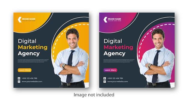 Agence de marketing numérique modèle de bannière de publication de médias sociaux vecteur premium
