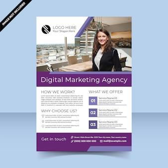 Agence de marketing numérique pour le modèle de conception de flyer violet