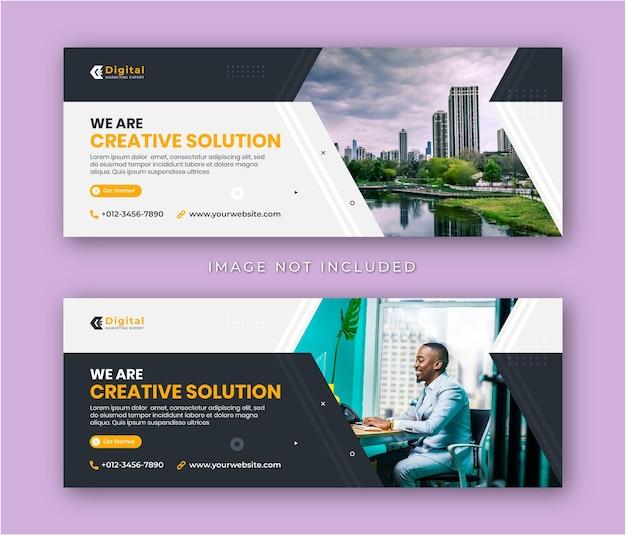 Agence de marketing de solutions créatives et flyer d'entreprise modèle de bannière de publication de médias sociaux couverture facebook moderne