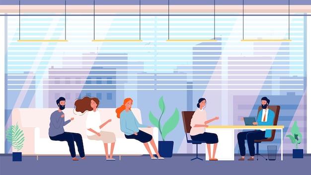 Agence de recrutement. candidats, bureau de l'emploi. chasse de tête et location. illustration plate de dessin animé