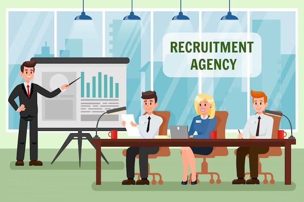 Agence de recrutement - illustration vectorielle avec texte