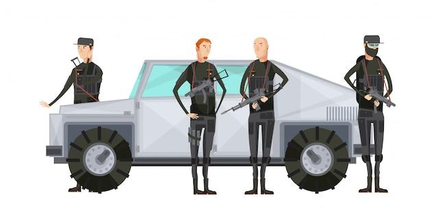 Agence de renseignement plat composition colorée avec des travailleurs des services spéciaux debout près de l'illustration vectorielle de voiture blindée