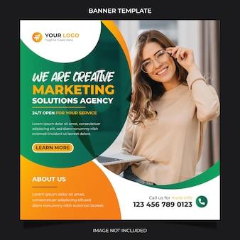 Agence de solutions marketing créatives bannière de médias sociaux instagram post template design vecteur premium