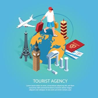 Agence de tourisme isométrique avec description et caractère de l'homme qui marche sur le globe terrestre