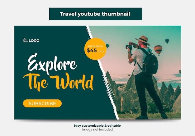 Agence de voyages conception de vignettes youtube et bannière web vignette de la vidéo du service de marketing touristique