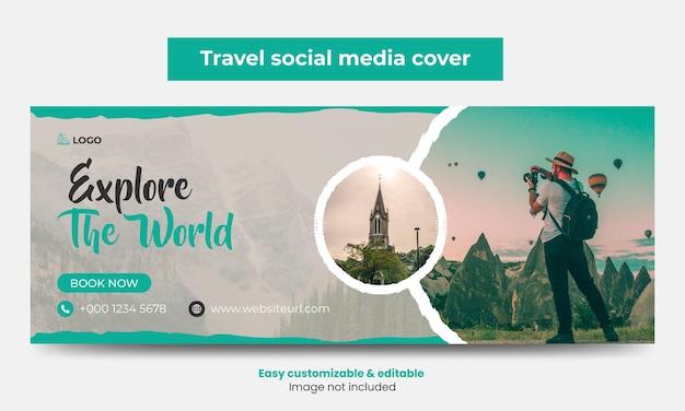 Agence de voyages couverture facebook conception de photos chronologie bannière web marketing touristique couverture de médias sociaux