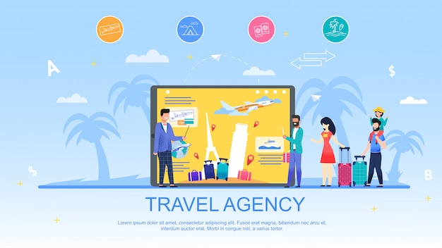 Agence de voyages et services de publicité bannière plate.