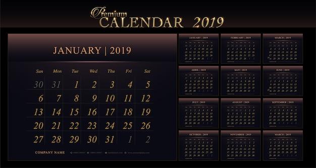 Agenda calendrier premium 2019 ans